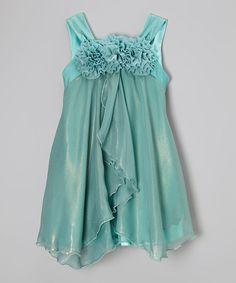 Look what I found on #zulily! Teal Rosette Babydoll Dress - Toddler & Girls #zulilyfinds