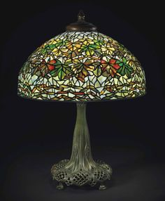 Tiffany Studios, New York, Favrile Leaded Glass and Patinated Bronze Lamp.
