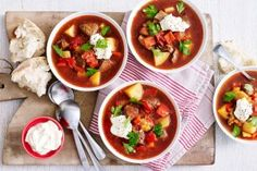 Serve this rich beef goulash with a dollop of sour cream and crusty bread to soak up all the sauce. Beef Goulash, Goulash Recipes, Beef Recipes, Cooking Recipes, Best Comfort Food, Just Cooking, Winter Food, Soups And Stews, Food Photo