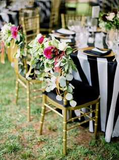 Chic stripe and gold table decor with pops of pink: http://www.stylemepretty.com/2015/09/16/modern-austin-garden-party-wedding/ | Photography: Jen Dillender - http://jendillenderphotography.com/wp1/