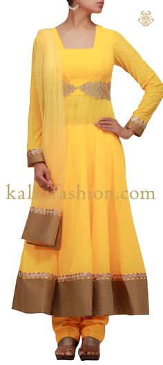 Buy it now  http://www.kalkifashion.com/yellow-anarkali-suit-with-zari-and-resham-work.html Yellow anarkali suit with zari and resham work