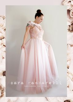 SALE tulle WEDDING DRESS, pink white black lace bodice bridesmaid dress, blush ball gown, romantic bridal dress, mother of bride long dress by saragambarelli on Etsy https://www.etsy.com/listing/245836212/sale-tulle-wedding-dress-pink-white