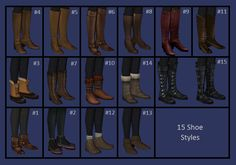 Mod The Sims - Ridiculous Number of Leggings (black and grey, 15 shoes)