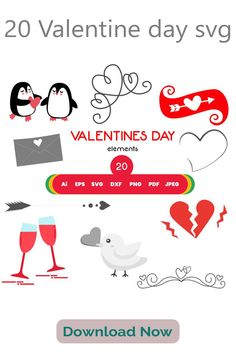 20 Valentine day svg, Silhouette and cricut Cut Cutting file,