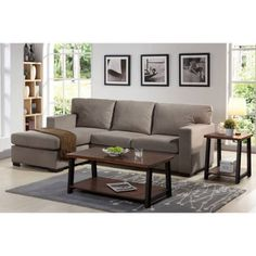 Better Homes and Gardens Oxford Square Reversible Sectional Taupe - Walmart.com  sc 1 st  Pinterest : malibu sectional - Sectionals, Sofas & Couches