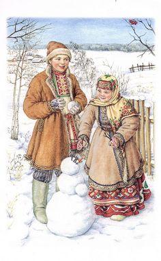 Smolensk Folk Costume  snow  ukrainian christmas boy girl  snow man  costume
