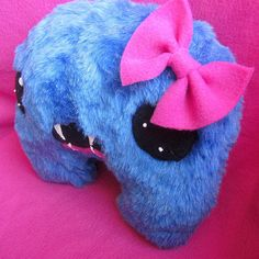 Hairy Mary  Furry Blue Girly Monster Plush by WonkyCritters