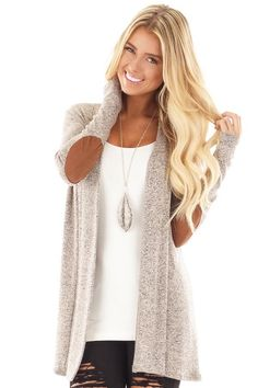 Lime Lush Boutique - Taupe Two Tone Cardigan with Faux Suede Elbow Patches , $32.99 (https://www.limelush.com/taupe-two-tone-cardigan-with-faux-suede-elbow-patches/)