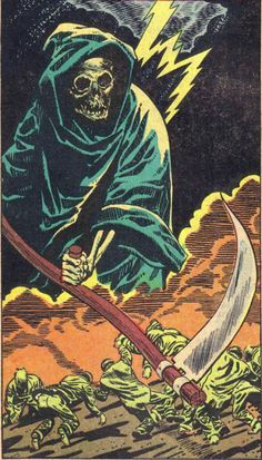 The bells strike the midnight horror. Dare you enter the comic crypt with The League of Tana Tea Drinkers to dig up the dirt on horrifying. Retro Horror, Vintage Horror, Don't Fear The Reaper, Grim Reaper, Horror Comics, Horror Art, Vintage Comics, Vintage Art, Arte Hip Hop