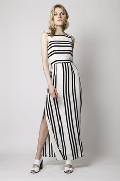 OVER+EXPOSED+-+BACK+AND+IVORY+STRIPE+PRINT+MAXI+DRESS