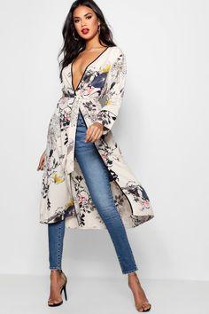 Womens Oriental Floral Belted Wrap Kimono - white - M Look Fashion, Fashion Outfits, Womens Fashion, Fashion Scarves, Ethnic Fashion, Floral Kimono, Kimono Top, Kimono Style, Bohemian Style