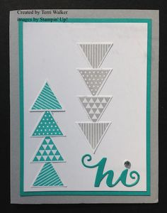 Hi card using the Geometrical stamp set, Circle Card Thinlits and Triangle punch