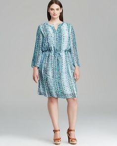 VINCE CAMUTO Plus Three Quarter Sleeve Folk Geo Print Split Neck Dress | Bloomingdale's