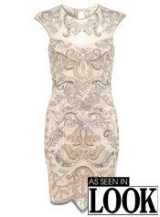 Nude Embellished Bodycon Dress