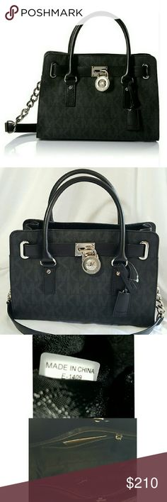 """Michael Kors Hamilton Signature Satchel NEW Michael Kors Hamilton Signature Satchel in Black with Silver hardware! This bag features a PVC exterior with MK signature pattern print, dual rolled handles with chain detail, shoulder strap for a versatile wear, magnetic snap closure to main compartment, interior zip pocket with two slide pockets, and a flat bottom with metal footing. PRICE FIRM. LESS ON ?  Approximate Measurements:  Length: 12.5""""  Height: 9.5"""" Strap Drop: 4.5""""  Style: 30H2SHMS3B…"""
