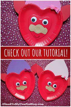 Paper Plate Valentine Troll – Kid Craft Idea For Valentine's Day Valentine's Day Crafts For Kids, Valentine Crafts For Kids, Valentines Day, Kid Crafts, Glue Crafts, Kids Corner, Paper Plates, Craft Tutorials, Troll