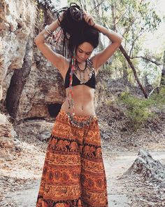 Big Orange Hippy Skirt