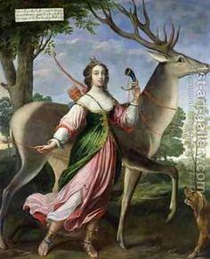 Portrait of Marie de Rohan-Montbazon, Duchess of Chevreuse, as Diana the Huntress, attr. to Claude Deruet, ca. Artemis, Oil On Canvas, Canvas Prints, Art Prints, Trianon Versailles, Pet Deer, Archery Training, Diane, Portraits