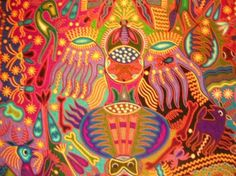 ARTE HUICHOL WIXARIKA Yarn Painting, Yellow Painting, Mexican Crafts, Mexican Art, Deep Art, Collage Art, Collage Ideas, Mexican Designs, Indigenous Art