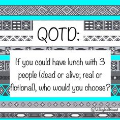 QOTD: if you could have lunch with three people who would you choose? AOTD: Chris Evans, Bethany Mota, and Percy Jackson :)