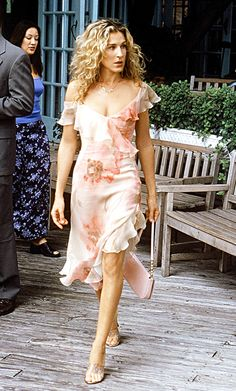 """""""Richard Tyler made two of those dresses for us in less than two weeks time!"""" Rebecca Weinberg said of design Carrie wore when she fell into the lake with Big on #SexandtheCity. http://www.instyle.com/instyle/package/general/photos/0,,20364084_20365543_20775606,00.html"""