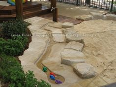 Rose Natural Playspaces: Sand pit area with water faucet next to a small w., Tessa Rose Natural Playspaces: Sand pit area with water faucet next to a small w., Tessa Rose Natural Playspaces: Sand pit area with water faucet next to a small w. Natural Play Spaces, Outdoor Play Spaces, Kids Outdoor Play, Outdoor Learning, Sand And Water, Water Play, Sand Pit, Outdoor Classroom, Landscape Design