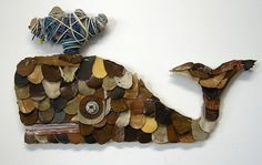 Thess pieces were created from old leather baseball gloves leather shoes motorcycle jacket salvaged wood assorted pieces of colored wire and string and Collages, Recycled Art Projects, Recycling Projects, Class Projects, Leather Scraps, Trash Art, Whale Art, Animal Bones, Recycled Leather