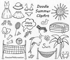 GROTE SET van Doodle zomer cliparts Hand getekende vakantie