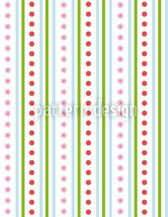 Striped Repeating Pattern - Geometrical pattern design with stripes, dots and flowers.