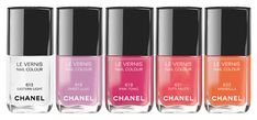 Chanel summer 2014 nail polish - LOVE Pink Tonic and Tutti Fruitti Chanel Nail Polish, Chanel Nails, Chanel Makeup, Beauty Nails, Diy Beauty, Beauty Makeup, Makeup Inspo, Eye Makeup, Tutti Frutti
