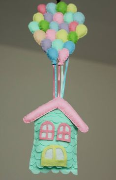Keçe balonlu ev. Felt cute craft house balloon home