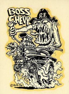 Boss Chevy decal, 1964. Art by Ed Newton