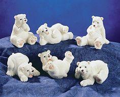 Set of 6 Resin White Little Polar Bears In Fun Poses Stat...
