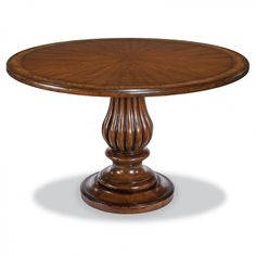 A pedestal table with handsome traditional styling has a molded round top above a robust multi-ringed carved column that rests on a round base. Woodbridge Furniture, Pedestal Dining Table, Wood Bridge, Table Games, Custom Paint, Traditional, Lee, Home Decor, Products