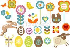 Set of retro Easter design elements Royalty Free Stock Vector Art Illustration