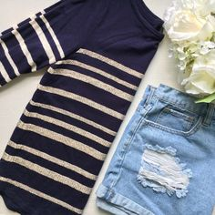 J. Crew // Beaded Striped Long Sleeve Tee - navy Feeling nautical? Pair this top with a great pair of denim. From J. Crew Factory worn once for a try on and removed the tags. Features clear beads on the white stripes for a bit of shimmer. Is a box fit with a shirttail hemline. Does not stretch due to the beads. J. Crew Tops Blouses