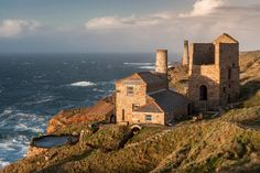 Cornish engine houses, Levant, Cornwall, England. The Atlantic Ocean kindly provides the dramatic background!