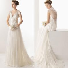 Temperament 2015 Wedding Dresses A Line V Neck Court Train Short Sleeves Tulle Lace Covered Buttons Draped Bridal Gowns W23, $135.08 | DHgate.com