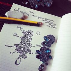 Adel's Laboratory: oceans and streams Bead Embroidery Jewelry, Fabric Jewelry, Beaded Embroidery, Beaded Jewelry, Handmade Jewelry, Soutache Pattern, Soutache Tutorial, Jewelry Design Drawing, Soutache Necklace