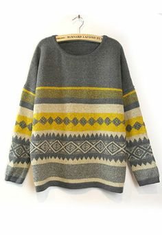 Tribal Patterns Mixed Color Stripes Knit Sweater Crewneck