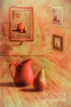 Digital Art - Pear And Jug by Veikko Suikkanen , Framed Prints, Canvas Prints, Wood Print, Beach Towel, Fine Art America, Pear, Digital Art, Stationery, Tapestry