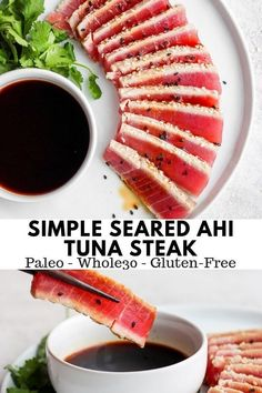 Simple Seared Ahi Tuna Recipe + Paleo) - The Wooden Skillet Simple Seared Ahi Tuna Recipe - all your seared ahi tuna questions answered PLUS a super simple recipes that is gluten-free, paleo and Healthy Steak Recipes, Tuna Steak Recipes, Fish Recipes, Paleo Recipes, Seafood Recipes, Whole Food Recipes, Simple Recipes, Healthy Food, Paleo Meals