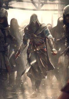 View an image titled 'Ezio & Assassins Art' in our Assassin's Creed: Revelations art gallery featuring official character designs, concept art, and promo pictures. Assassins Creed 2, Assasin Creed Unity, Assasins Cred, Connor Kenway, All Assassin's Creed, Another Anime, Iron Maiden, Fantasy Characters, Character Art