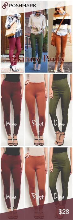 """High Waisted Skinny Pants 3 Colors Must have fall/winter essential high waisted skinny pants in 3 trending colors wine, rust and olive. Pair with tops, tunics, sweaters, knee boots, heels or booties. Made in the USA fabric rayon, nylon and spandex. Size S, M, L color Rust                                                                    Small wait 26"""" Med. waist 28"""" Large waist 30"""" Inseams 26"""" Full length from Waist to bottom hem 36"""" Threads & Trends Pants Skinny"""