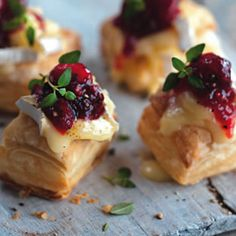 Cranberry Camembert puffs Recipe Appetizers, Lunch with olive oil, purple onion, balsamic vinegar, red wine, sugar, cranberries, puff pastry, camembert, thyme leaves
