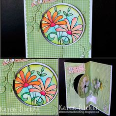 Check out this stunning pull card created by Karen Aicken featuring the Spiral Circle Pull Card. More info and instructions on Karen's blog. http://www.alteredscrapbooking.blogspot.ca/2014/08/floral-spiral-circle-pull-card.html