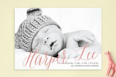 Sweetest Gift Birth Announcements by Paper Dahlia at minted.com in gold