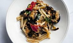 Baked aubergine penne pasta in a bowl by Nigel Slater
