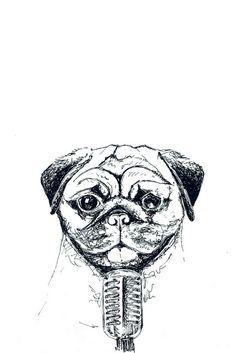"""Mops"" auf RIDING RHINO - Veganism. Cyclism. Minimalism #Mops #Mikrofon #AnimalArt #Illustration #Zeichnung Illustration, Skull, Friends, Fictional Characters, Art, Minimalism, Pug Dogs, Craft Art, Illustrations"
