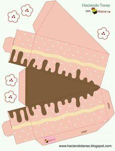 Caja rebanada de pastel